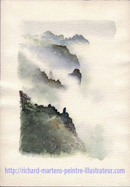 """Troisième version de l'aquarelle de Richard Martens : """"Le mont Huangshan dans les nuages"""". Février-mars 2017."""