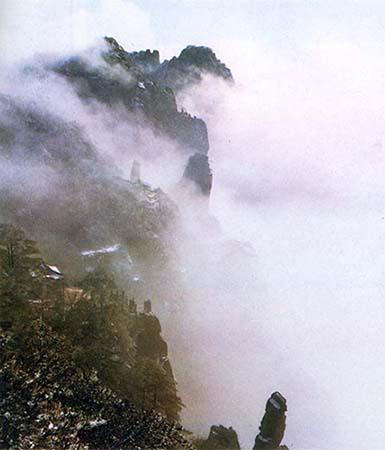 """Photo du mont Huangshan dans les nuages"""", 1982."""