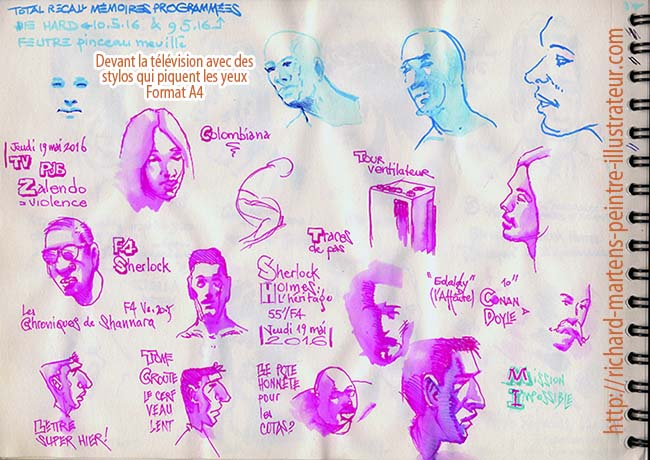 Dessins par Richard Martens,devant la télévision, avec un pinceau-réservoir d'eau, et deux stylos, magenta et cyan, à encre soluble, les 9 et 10 mai 2016.