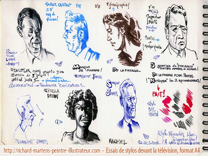 """Essais de divers feutres, à partir de personnages légèrement stylisés ou caricaturés, de la série télé """"Inspecteur Lewis"""", par Richard Martens, le 21 mai 2016."""
