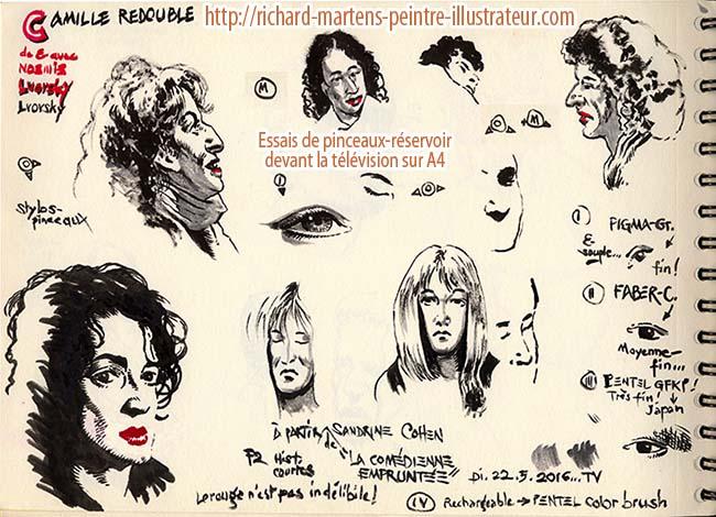 """Dessins directement au pinceau-réservoir à encre noire, par Richard Martens, de personnages du film """"Camille redouble"""", le 22 mai 2016."""