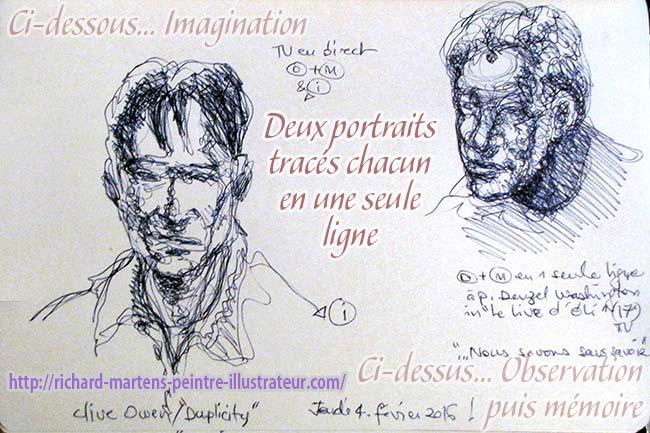 Deux portraits tracés chacun en une seule ligne à partir de personnages d'un film à la télévision, par Richard Martens, le 4 février 2016..