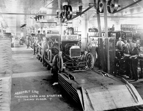 Model T's come of the line in the Oklahoma City plant, 1913.