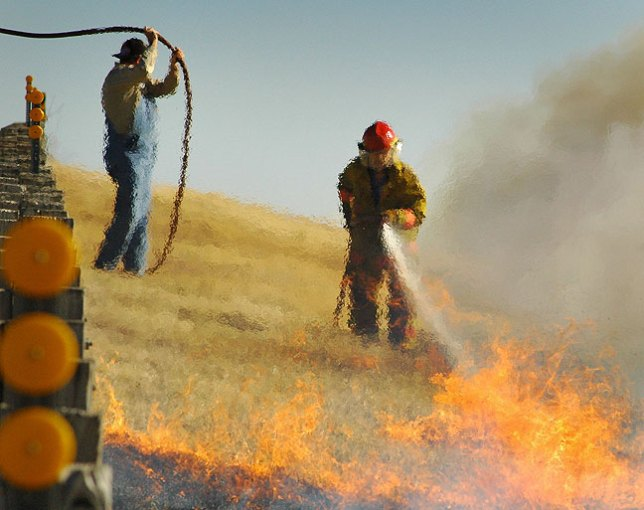 Wildfire near Latta, Oklahoma, winter 2006.