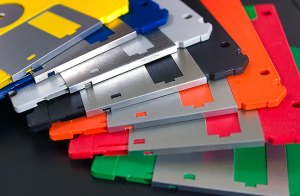 3.5-inch floppy disks typically hold 1.44MB of data