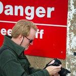The author photographing the Great Salt Plains Reservoir dam. (Photo by Michael D. Zeiler)