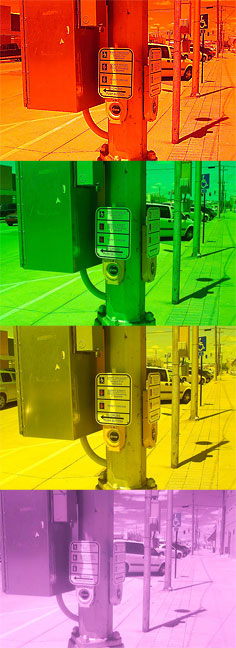 Here are four test frames made with the Kodak DCS-720x and four different filters, the deep red (25a), the deep green (X1), a medium yellow (Y48), and a 720nm infrared filter, showing the unedited visible results.