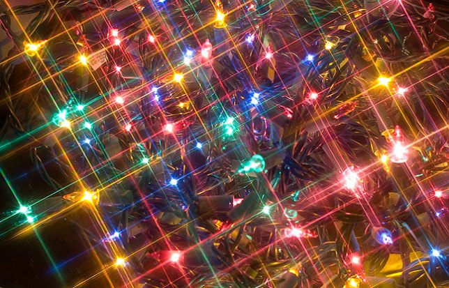 The humble cross screen filter can change a bundle of ordinary Christmas lights into a classic holiday image.