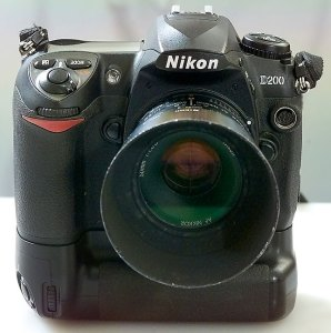 This front view of the Nikon D200 with the 50mm f/1.8 Nikkor mounted shows how the camera stands tall on its MB-D200 battery grip.