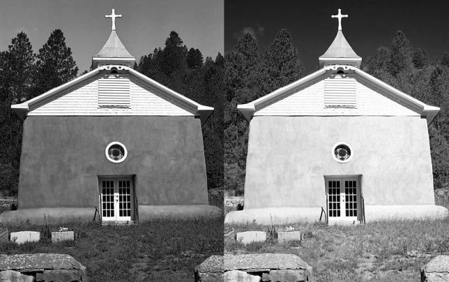 The result: two very different ways to render a color image in black-and-white using the channel mixer. On the left is the blue filter emulator, and on the right is the red filter option. There are several other filter presets in between, including infrared.