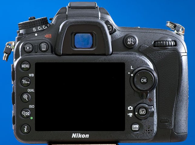 """This rear view of the Nikon D7100 shows the control layout, including the """"live view"""" button for making high-definition video."""