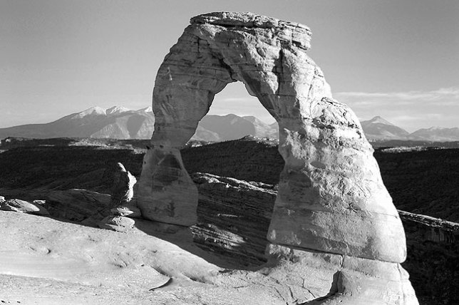 This is Delicate Arch rendered with a simulated red filter.