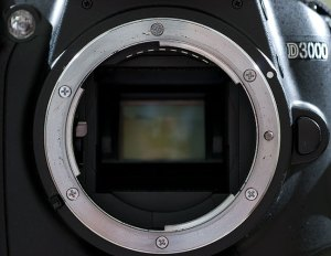 This is the mount of the Nikon D3000. Note that it does not have an autofocus pin because it does not have a built-in focus motor.