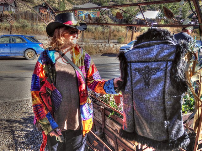 Abby shops at Madrid, New Mexico. I used Photomatix Pro to play around with the tones, and ended up saving this one because it illustrates how much you can do with the app. Some will find this look neat, and some will find it garish. I think it's a little of both. In any case, it certainly improved the contrast problem with the original iPhone image.