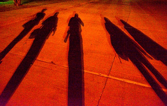 Finally, on our way back to the classroom, in almost total darkness, we made this image of our shadows.