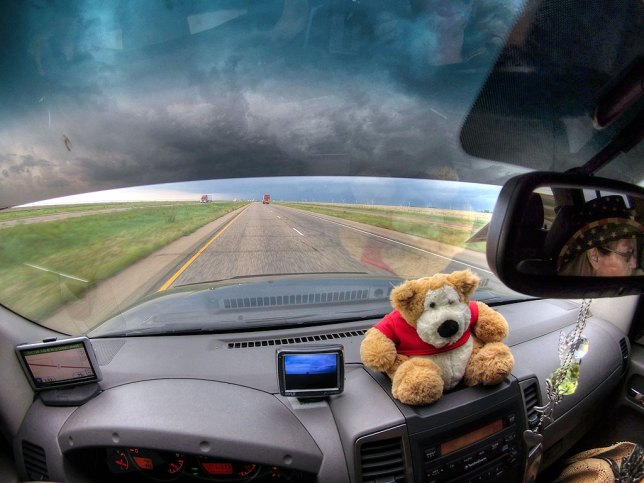 This image was made with my Ion AirPro3's still-frame function, shot with the camera clipped to the driver's-side visor. As you can see, the view is super-wide.