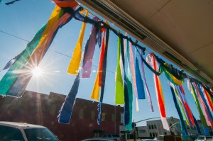 Prayer banners catch morning sunshine at H2O Church in downtown Ada Thursday, Aug. 11, 2016. The banners were placed in honor of Avery Anderson who was injured in a two-vehicle accident July 27 at the intersection of County roads 1570 and 3610 in the Lovelady area, and remains hospitalized in Oklahoma City. This seems like a fairly straightforward image, with two glaring exceptions... 1. The caption is factual, and written by a professional journalist, and 2., no one else thought to shoot it this way.