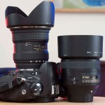 On the left is the Tokina 12-24mm f/4. Next to it is the excellent AF-S Nikkor 85mm f/1.8.