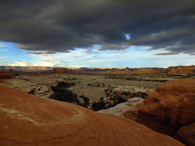 Storm clouds brood over the Squaw Flat Campground in The Needles District at Canyonlands National Park in the spring of 2013. Even the trail circling the campground in this park is spectacular.