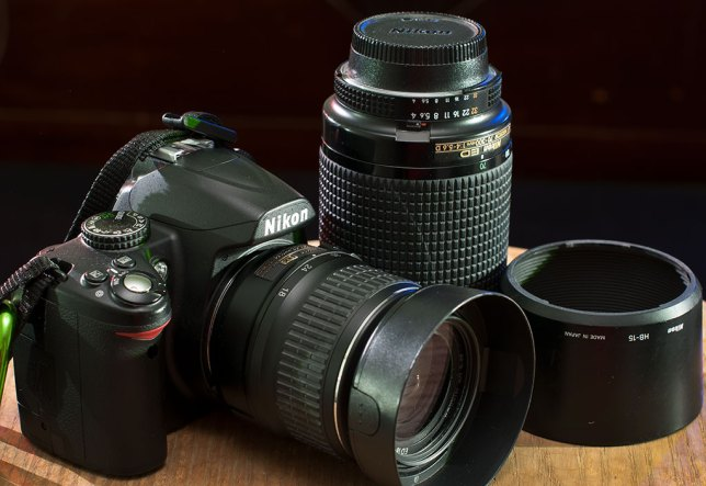 """Most of the people in my classes are equipped with this type of gear: a """"kit."""" This is my wife's Nikon D3000, an 18-55mm f/3.5-5.6, and a 70-300mm f/4-5.6. In the right hands, a kit like this is capable of amazing things."""