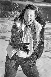 I cheated a little to make this image of a 1984 snowball fight: I asked my sister's roommate to pose for it. I made this with my 105mm on Plus-X Pan Film.
