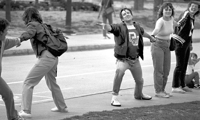 "Oklahoma University tried to do a ""Hands Across OU"" thing while Hands Across America was going on, but it came up short, as in this image I shot with my 200mm f/4 Nikkor on Tri-X Pan Film."