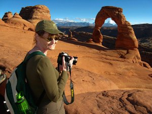 Abby shoots the iconic Delicate Arch in Utah in 2009. I made this image with the S200EXR. Abby and I got married there in 2004.