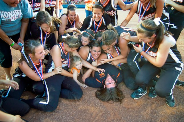 Despite the D100's deficiencies, I was able to shoot news and sports with this camera, like this image of the Konawa Lady Tigers claiming their OSSAA state championship trophy.