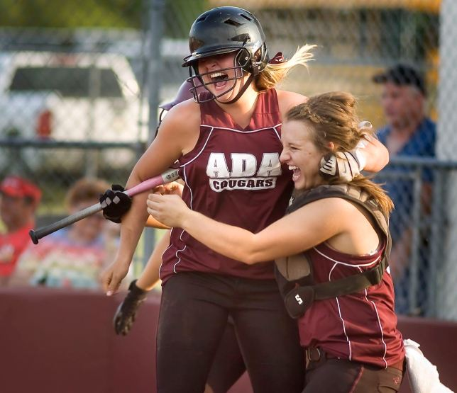 I happen to think the Ada area is home to many great sports traditions, and for me, shooting celebrations and dejections is as important as shooting the action. In this image, Ada softballers Amory Morgan and Taryn Jack celebrate an extra-innings score at the Ada High Softball Complex in 2010.