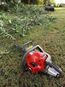 The real trick to using a chain saw is to avoid cutting off stuff that then falls on you.