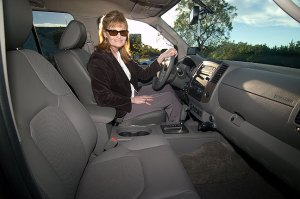Abby shows off her new leather interior with one of the most important features for her, heated seats.