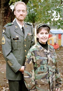 "This is me with Ann Roberts in 1999. The name tag on my jacket says ""Murray,"" so I told people my Uncle Murray was buried in this uniform."