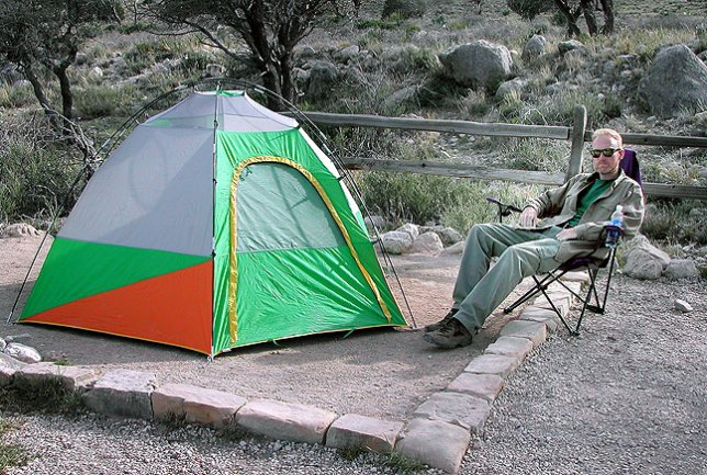 The author sits next to his tent at Pine Springs Campground at Guadalupe Mountains National Park in west Texas.