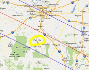 This map shows the eclipse path bordered by blue lines, with the center of the totality marked in red. Park Hills is circled in yellow. (Burn this map after memorizing it.)