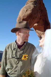 Abby and I look into each other's eyes as we exchange wedding vows eight years ago.