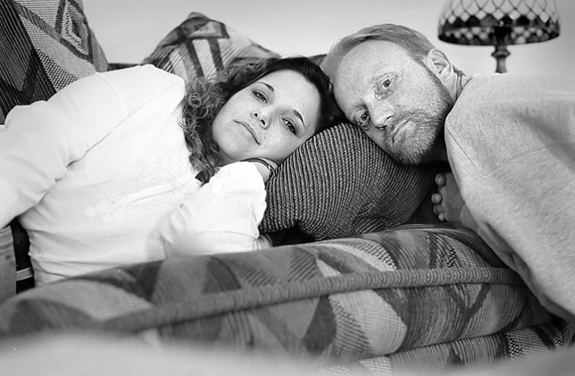 Ann and I pose for a double self portrait on a couch in her home in Shawnee, Oklahoma, 2002. Ann was one of the best friends I ever had.