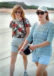 Abby and Nicole walk Nicole's dog Griffin on Flagler Beach, Florida, June 29, 2003.