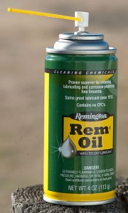 I keep this can of Rem Oil by the garage door so I can clean and lube any weapon I am preparing to shoot on the way to the pond.