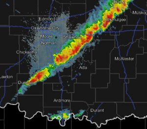 This Mesonet radar image was made at 6:00 pm.