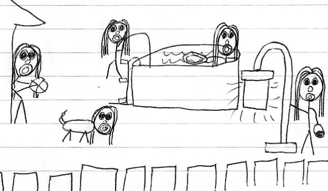 """The """"Pool Party"""" drawing from """"The Book"""""""
