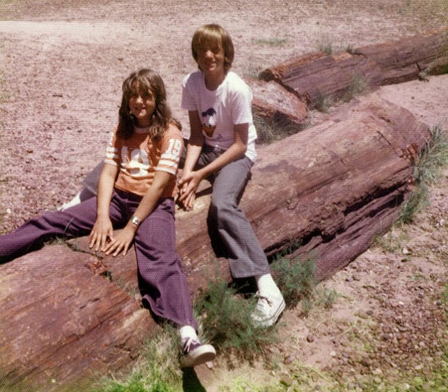 This was the result of one of those rough family moments: Dad wanted us to pose on this stump at Petrified Forest National Park, but I thought it made us look stupid. He ended up yelling at me, so I complied.