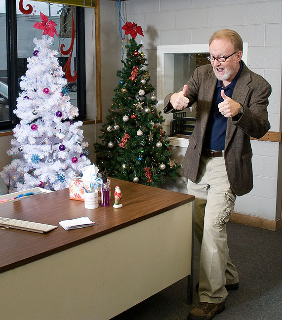 This is your humble host's idea of a test frame prior to our annual office Christmas photo.