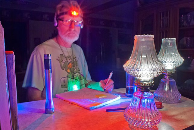 With the hurricane lamps lit and several flashlights around, including my headlamp set to red, I did some research on an old journal before turning in. Abby was in the hospital, so it was an oddly quiet, lonely night in the dark.