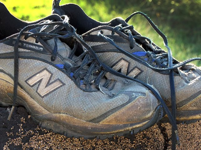 I've owned this pair of New Balance All-Terrain hiking shoes for the better part of ten years. For the last five years, they've been at the bottom tier of shoe use for me: yard work shoes. Tonight I decided they gave it their all, and tossed them in the trash.