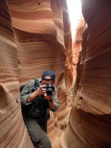 Your host explores the Zebra Slot Canyon in southern Utah's Grand Staircase/Escalante National Monument in April.