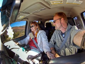 """Abby gives me a little """"whoa"""" as we make our way down a four-wheel-drive road in southern Utah last week."""