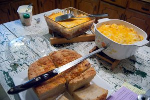 Bread and casserole: dinner is served.