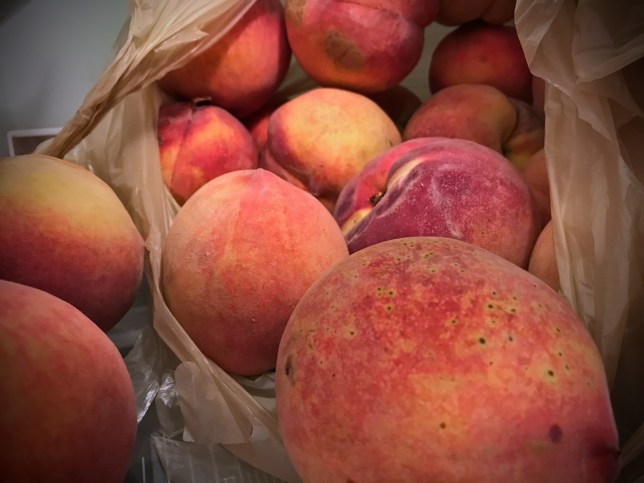 Colorful, ripe, nutritious and delicious, the Sallisaw peaches were for sale today in Stratford at the Peach Festival.