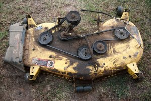 There are several items to repair on our riding mower's deck.