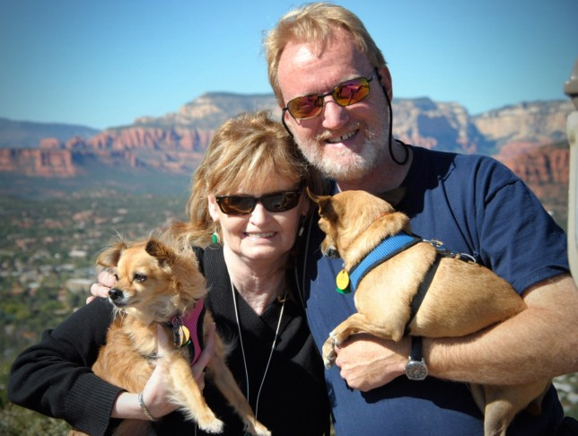 Abby and I pose with our Chihuahuas, Sierra and Max, in Sedona, Arizona, in October 2011.